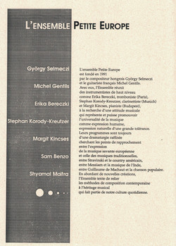 L'Ensemble Petite Europe fondé par György SELMECZI et Michel GENTILS