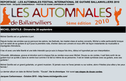 Festival Les Automnales de BALAINVILLIERS, près de PARIS