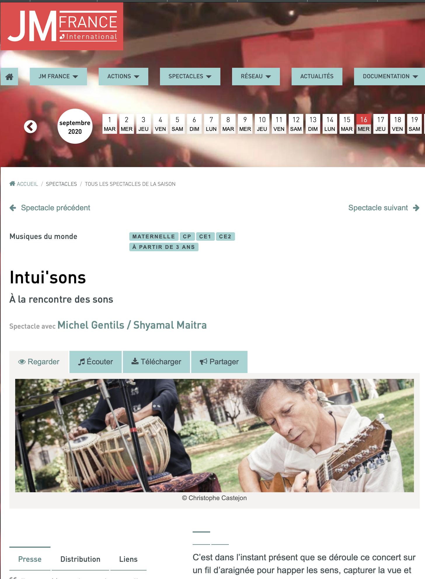 En partenariat avec les Jeunesses Musicales de France, création d'un nouveau spectacle en duo avec S