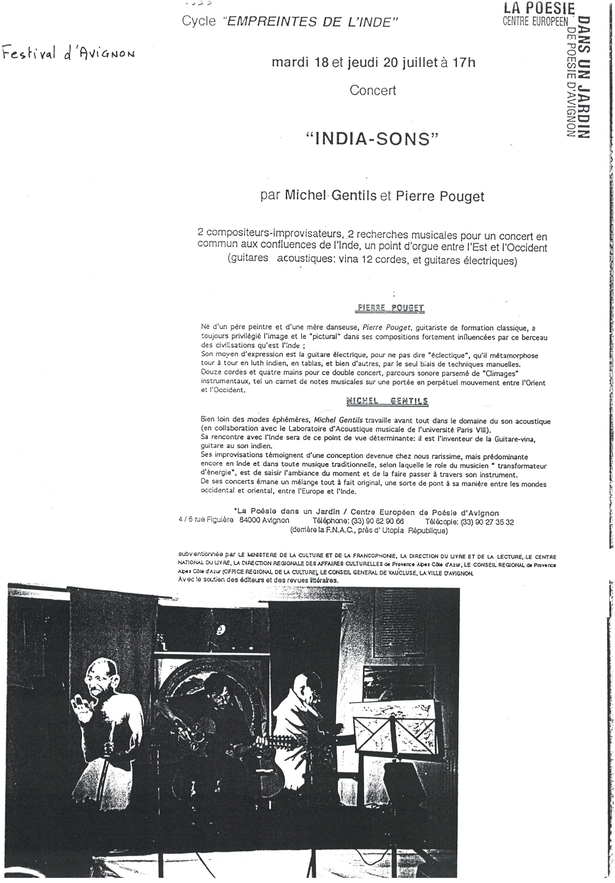 Festival d'Avignon avec Pierre POUGET pour le spectacle India-Sons