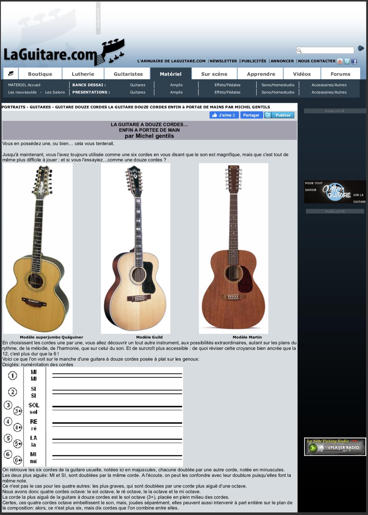 Laguitare.com : La guitare à 12 cordes, par Michel Gentils