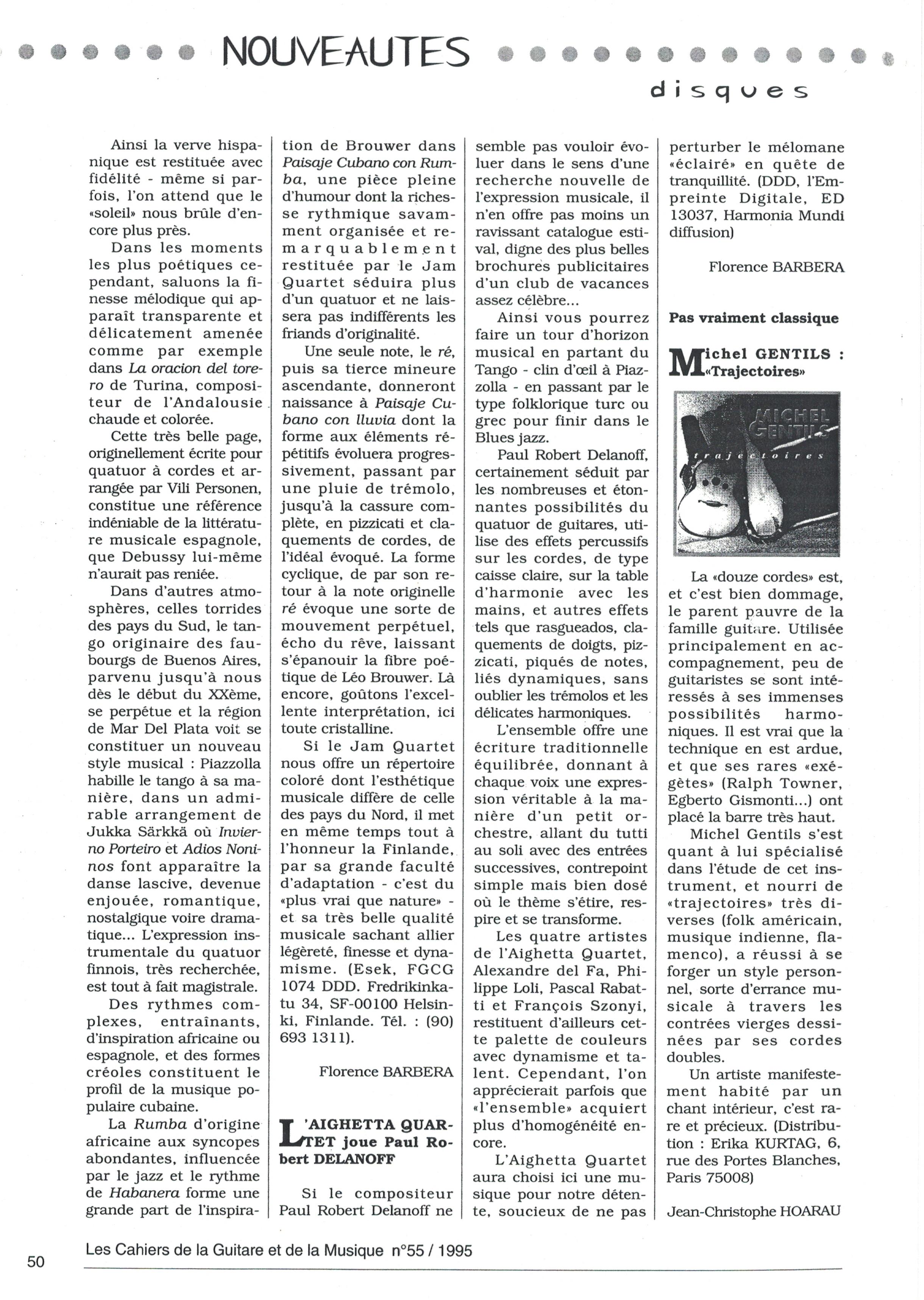J_C HOAREAU dans Les Cahiers de la Guitare sur le CD Trajectoires