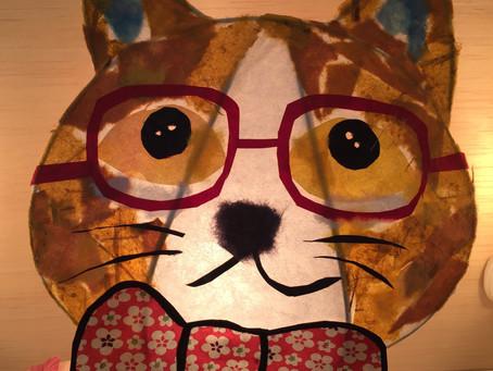 ねこ好きさん、大集合!!和柄リボンの、眼鏡ネコランプ、作りましょう〜 | 手作りライト教室 PAPERMOON(東京 自由が丘)