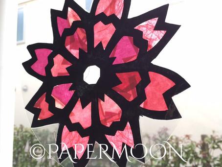 ステンドグラス風 桜柄の窓飾り | 手作りライト照明教室 PAPERMOON(東京 自由が丘)