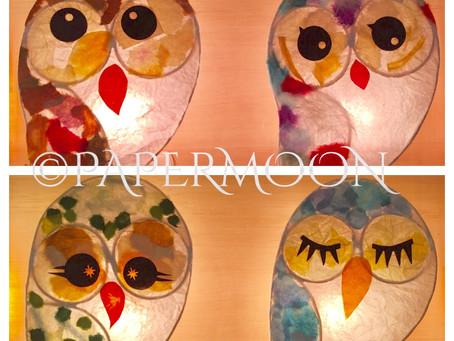 フクロウのランプ、この夏も人気! | 手作りライト照明教室 PAPERMOON(東京 自由が丘)