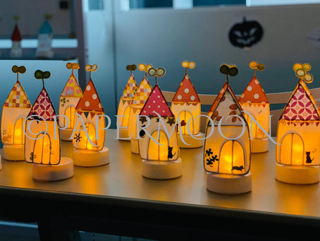 お家ライトがたくさん建ちました!出張ワークショップ | 手作りライト照明教室 PAPERMOON(東京 自由が丘)