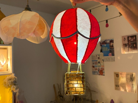 【生徒作品】気球のライト   手作りライト照明教室 PAPERMOON(東京 自由が丘)