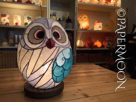 ライラック色のフクロウあかり【生徒作品】 | 手作りライト照明教室 PAPERMOON(東京 自由が丘)