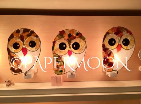 和紙照明 フクロウ三兄弟【生徒作品】   手作りライト照明教室 PAPERMOON(東京 自由が丘)