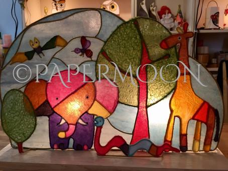 【生徒作品】カラフル和紙の動物たち | 手作りライト照明教室 PAPERMOON(東京 自由が丘)