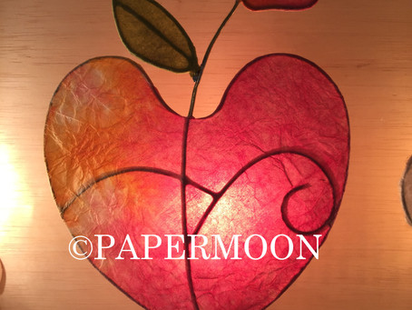 生徒さん作品 ハートライト&和紙のお箸置き  | 手作りライト照明教室 PAPERMOON(東京 自由が丘)