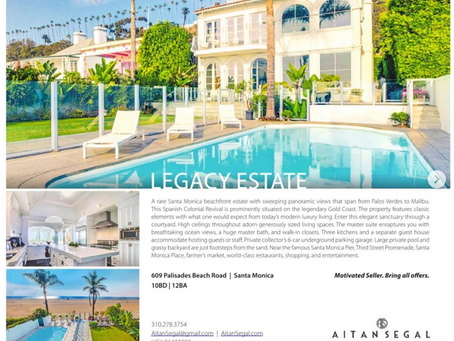 My images of Santa Monica oceanfront mansion featured in double-page spread