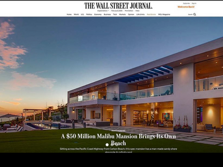 Wall Street Journal showcases my imagery of $50M brand new, hilltop, architectural Malibu mansion