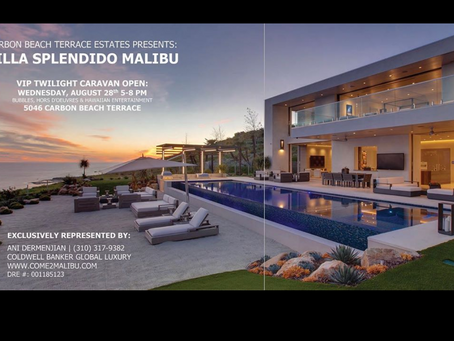 Double-page spread of my images of Malibu architectural mansion in The MLS Brokers Caravan magazine