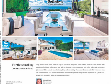 My imagery of Malibu blufftop architectural in LA Times ad