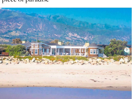 Double-page ad of my aerial image of Carpenteria beachfront residence