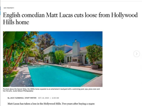 LA Times showcases my imagery of actor Matt Lucas' Hollywood Hills residence