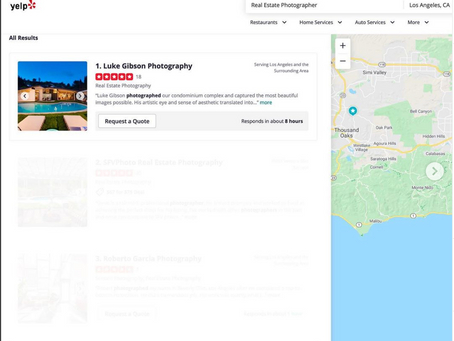 Yelp ranks Luke Gibson Photography as the #1 real estate photographer in LA