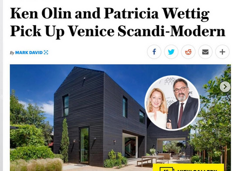 Variety Magazine features my images of actors' Ken Olin & Patricia Wettig's new Venice residence