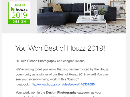 Luke Gibson Photography voted Best of Houzz 2019 in the Design Photography category