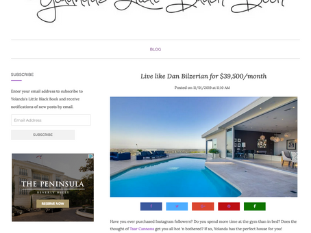 My images of Bird Streets residence featured on Yolanda's Little Black Book blog