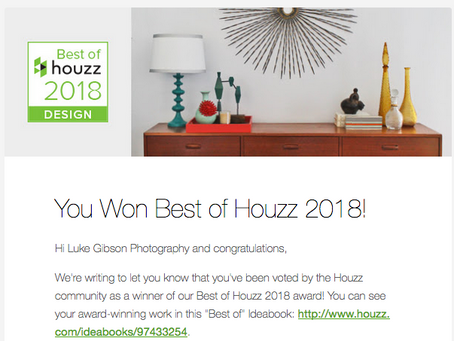 "Houzz users award Luke Gibson Photography ""Best of Houzz in Design 2018"" category"