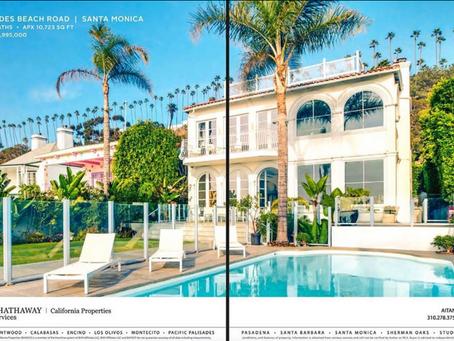 Santa Monica beachfront mansion double-page ad