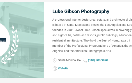 Luke Gibson Photography rated in the top 19 photographers in LA