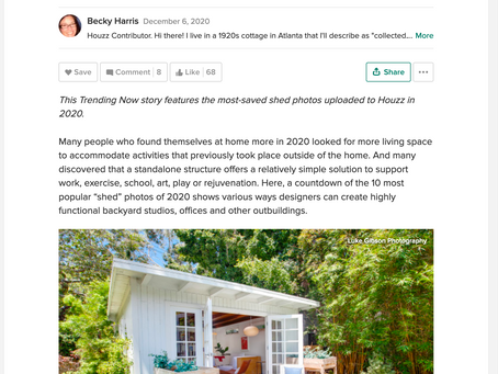 Houzz features my image in article on backyard studios