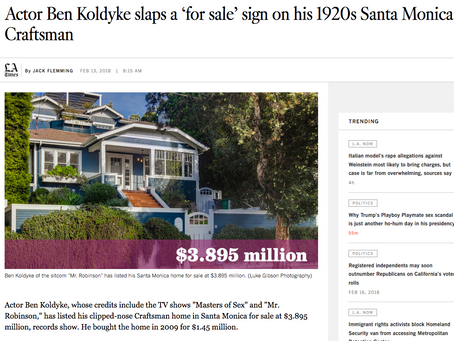 LA Times features my images in article on actor Ben Koldyke's Craftsman residence