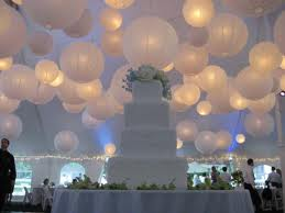 White Paper Lanterns and wedding cake.jpg