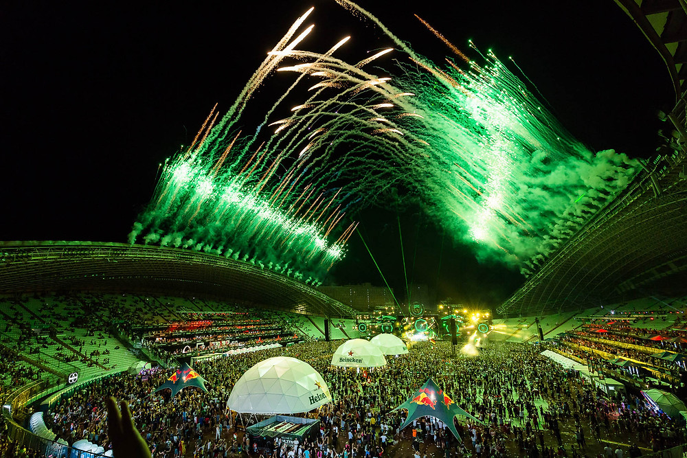 Firework show at Ultra Europe