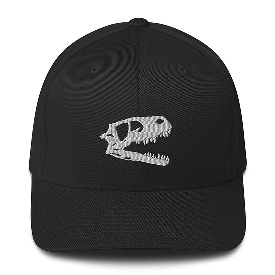 Edward Cope Dino Skull Fitted Structured Twill Cap (White)