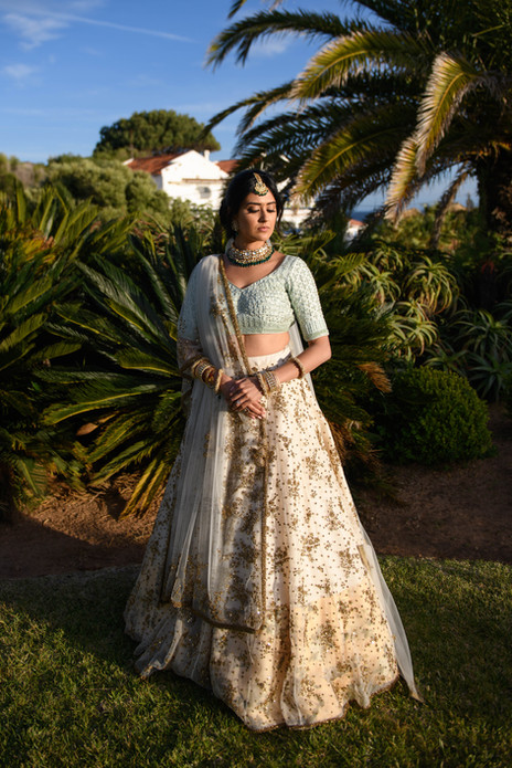 Asian bride at her hindu wedding in Algarve, Portugal
