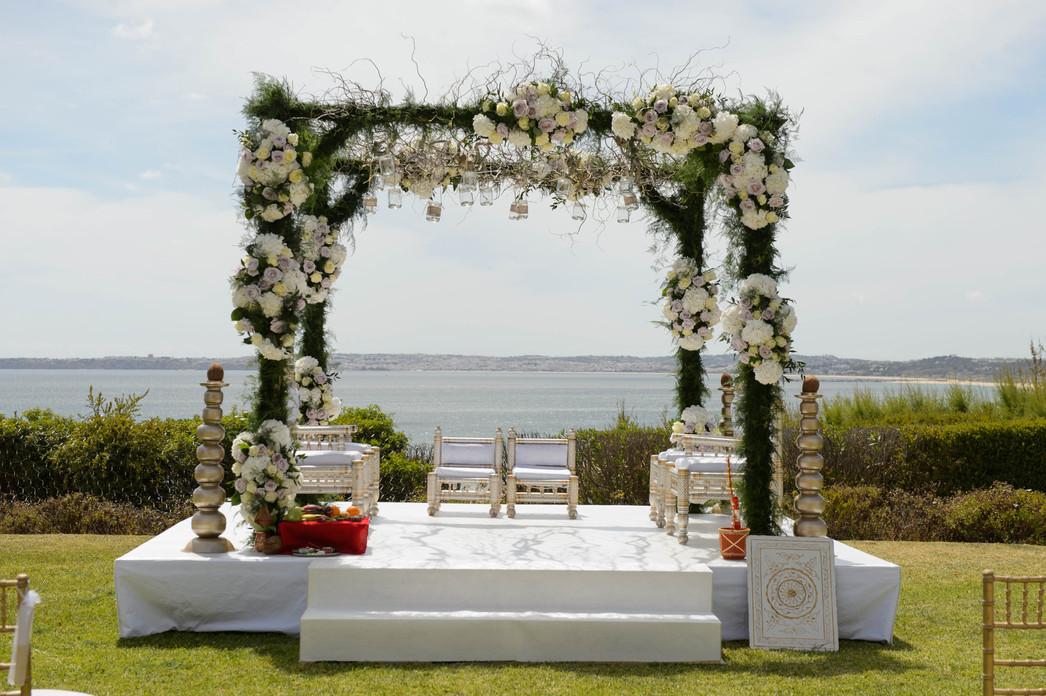 Enchanted floral mandap in Algarve, Portugal