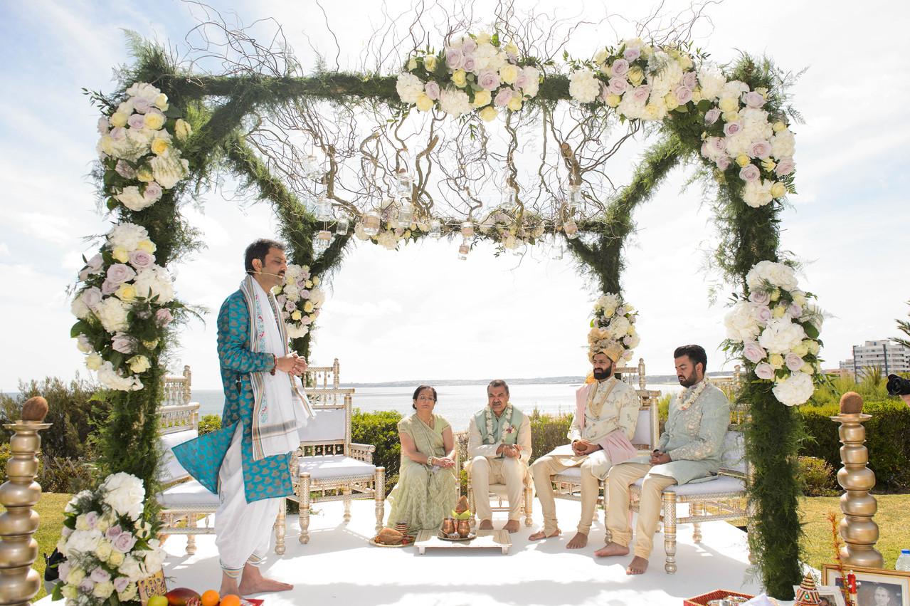 Enchanted floral mandap at Hindu wedding ceremony in Algarve, Portugal