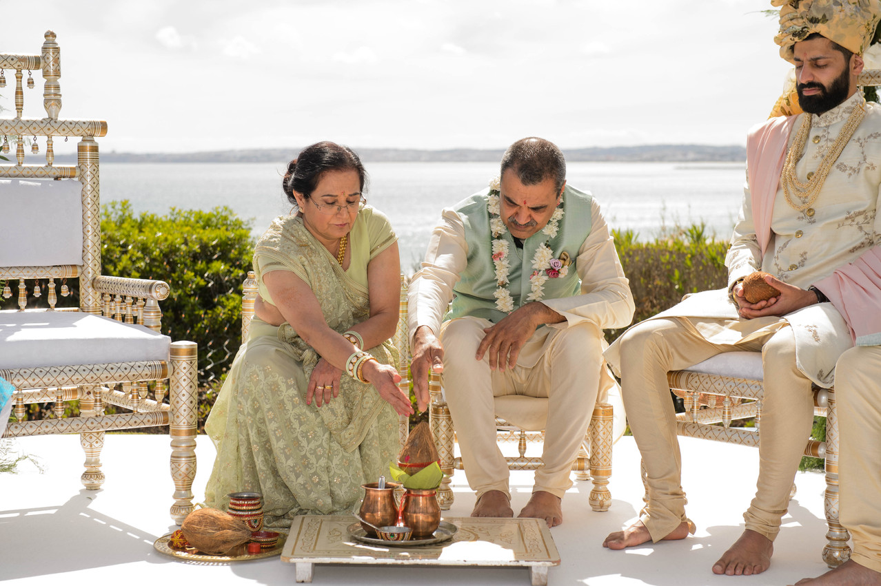 mother and father of the bride at a Hindu wedding ceremony in Algarve, Portugal