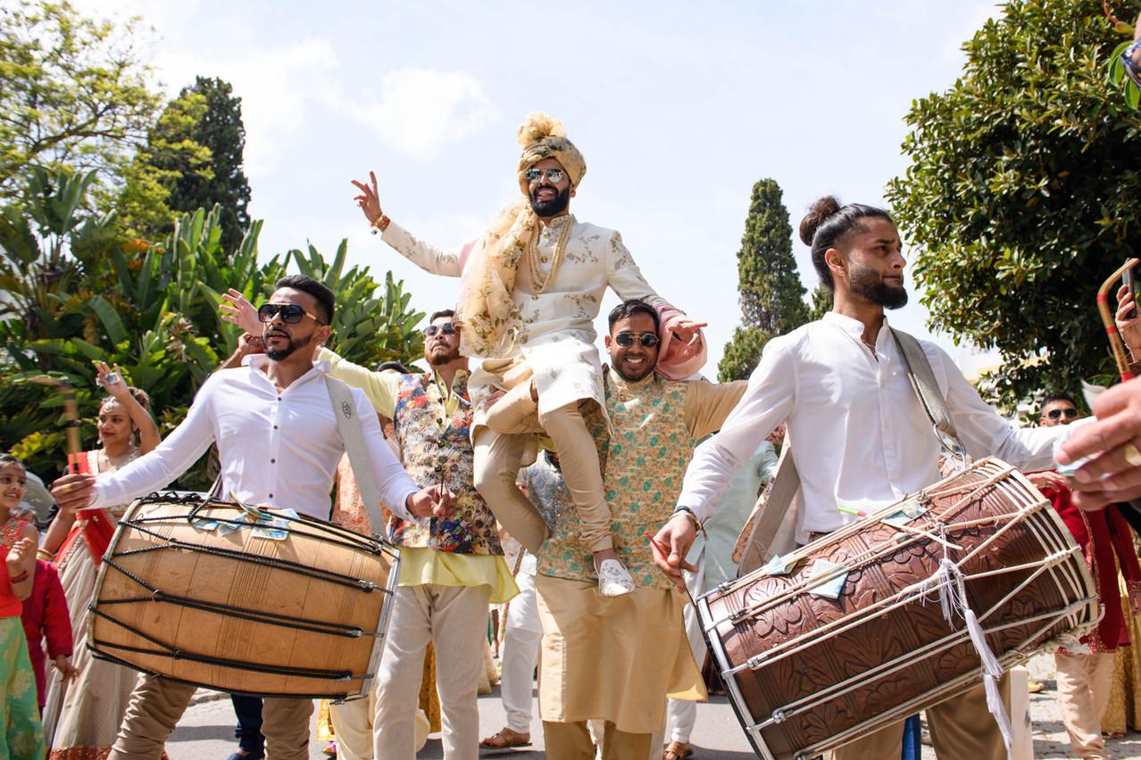 grooms baraat entrance to his Hindu wedding ceremony