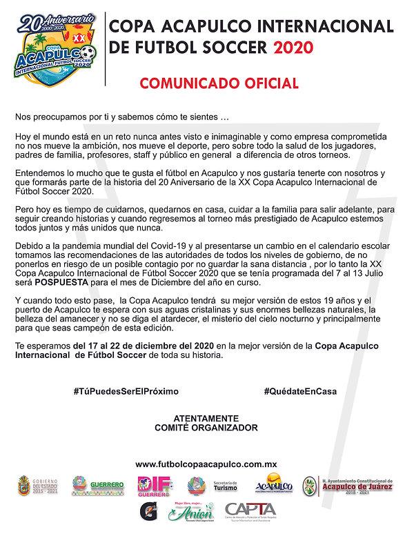 Comunicado Cambio de Fecha Copa Acapulco