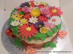 Flower topped cake