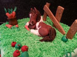 Horse in a field cake