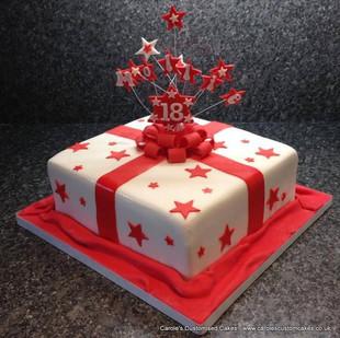 Gift box 18th birthday cake