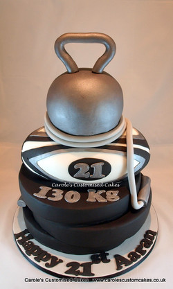 weights and rugby cake