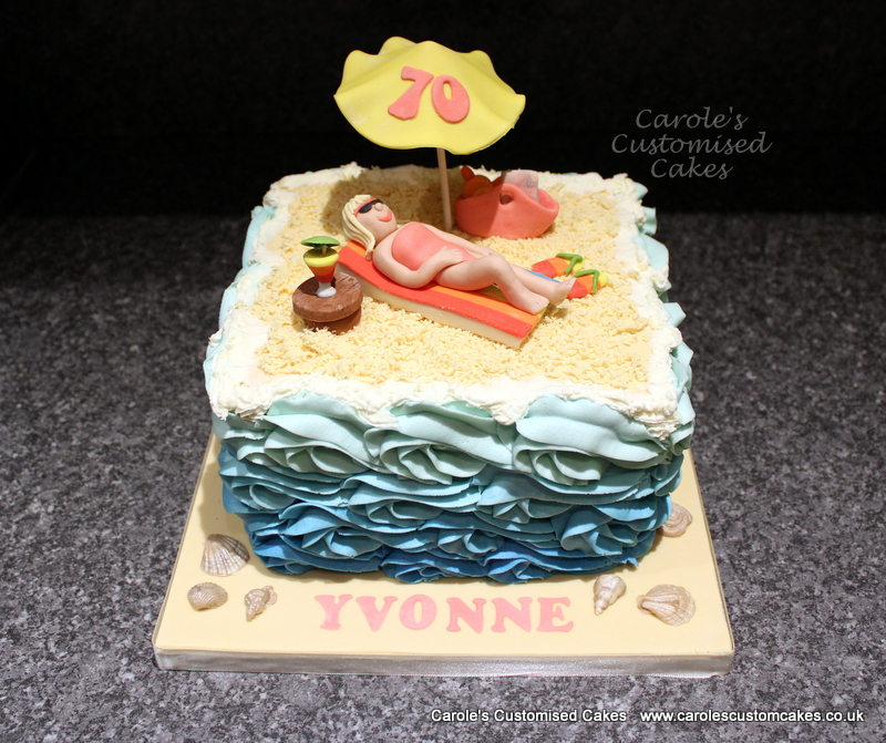70th birthday beach cake