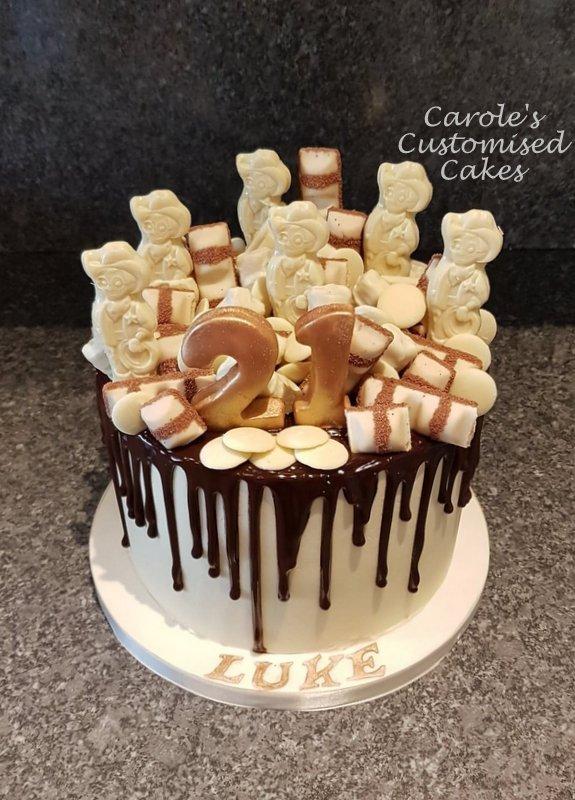 white chocolate drip cake