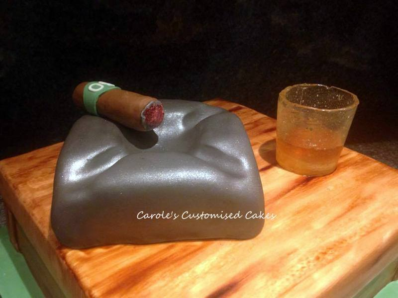 whiskey cigar and ashtray cake