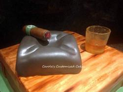 whiskey cigar and ashtray cake
