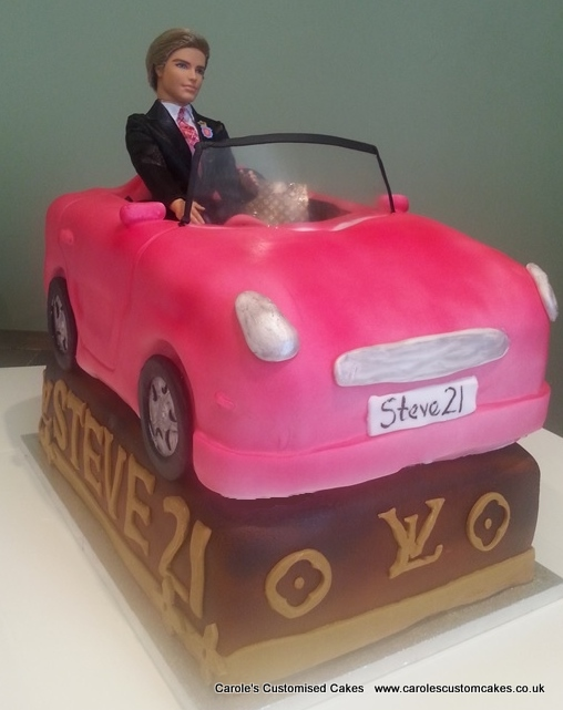 Ken and Barbie car cake