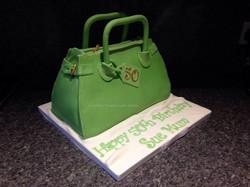 Green handbag cake