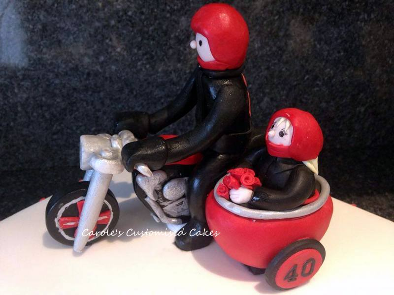 motorbike and sidecar cake topper
